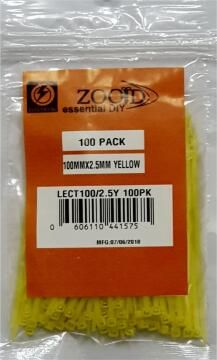 CABLE TIE 100X2.5MM ZOOID YELLOW X100