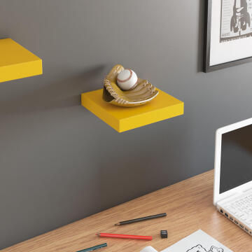 Floating shelf yellow 23x23cm