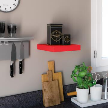 Floating edged shelf red 23x23cm
