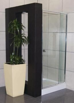Shower corner entry pivot square glass OVVIO door panel chrome 800to102x185cm