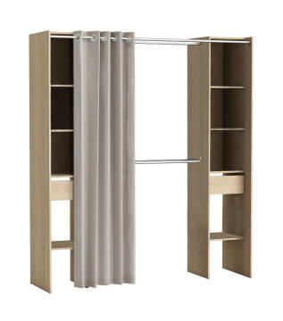 Wardrobe kit 2 colums, 2 drawers with curtain oak H203cm x W180cm