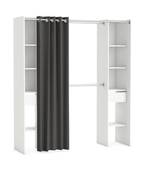 Wardrobe Kit 2 Colums 2 Drawers With Curtain White H203cm X W180cm Leroy Merlin South Africa