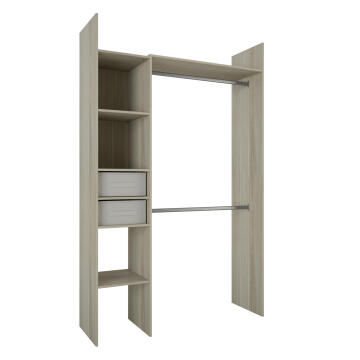 Wardrobe kit 2 baskets, 4 shelves oak H220cm x W137cm