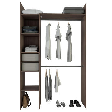 Wardrobe kit 2 baskets, 4 shelves walnut H220cm x W137cm