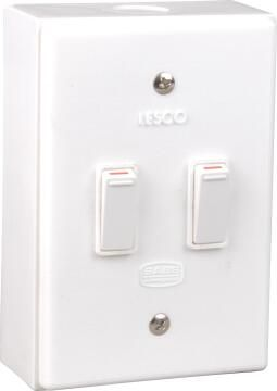 Wall mounted switch 50x100mm 2 levers 1 way LESCO white