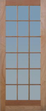 Patio Door Engineered Hardwood 18 Light-w813xh2032mm