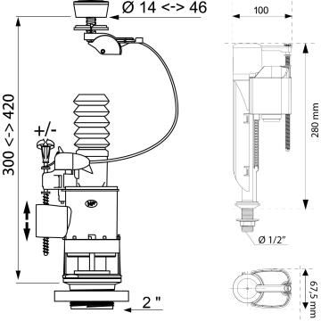 Toilet mechanism WIRQUIN universal dual flush kit closed couple