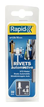 Automotive rivets 4.8x16mm 32pc rapid