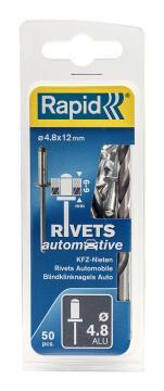 Automotive rivets 4.8x12mm 50pc rapid