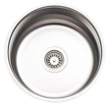 Kitchen sink 1 round bowl antiscratch stainless steel D385mm