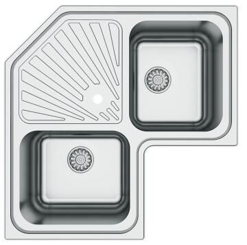 Kitchen sink corner 2 square bowls 1 drainer stainless steel 830mm x 830 mm