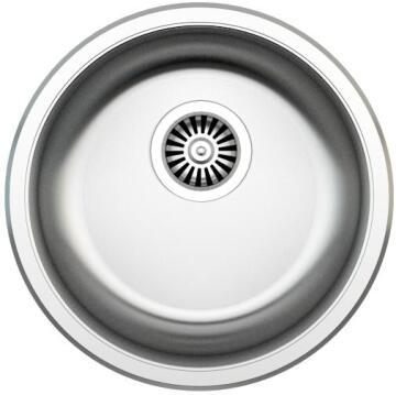 Kitchen sink 1 round bowl antiscratch stainless steel D 460mm
