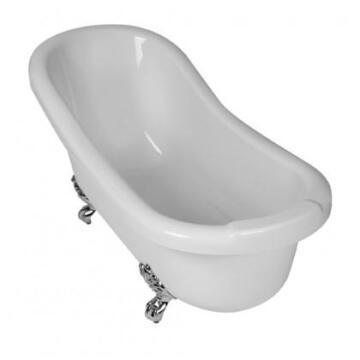 Bath free standing oval+chrome feet acrylic slipper white 168x70x55,5cm