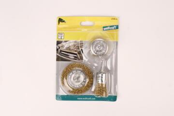 Set of 6 brass brushes round shank WOLFCRAFT