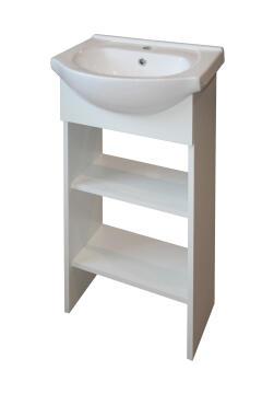 Single basin cabinet open shelf white 450MM