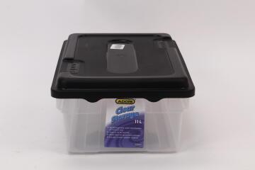 11L Clear Storage Box Black
