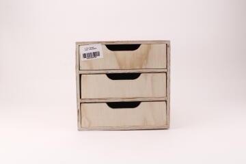 3 Tray Pine Drawer Organizer H25 x W26 x D33cm