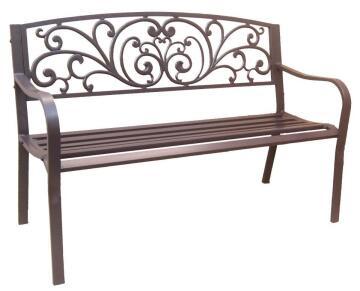 Bench Park Steel NATERIAL 128 cm X 56 cm X H 85 cm Brown