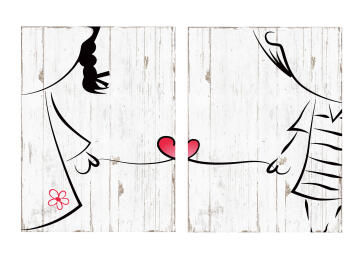 WALL PLAQUE HEART LOVER 30X40X2.5CM 2PC