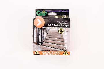 Anti-slip self adhesive grid tape reflective & black 5mx48mm perma