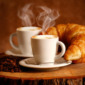 CANVAS COFFEE CROISSANT 20X20CM