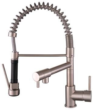 Kitchen tap lever mixer with spray DELINIA Candy brusch stainless steel