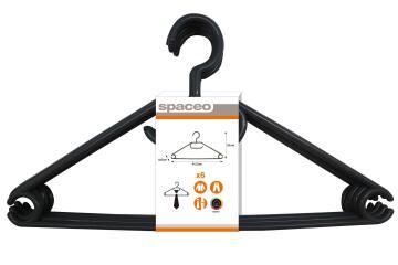 6pc Hanger Plastic Black
