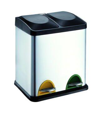 Kitchen pedal bin 15L*2 chrome