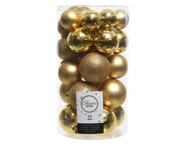 Christmas Baubles Tube Assorted Gold 30 Piece