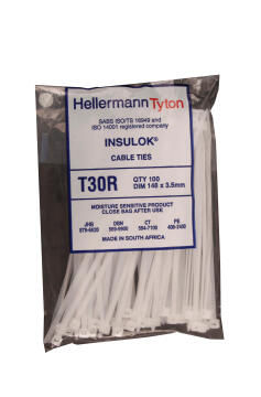 Cable tie 148x3.5mm HELLERMANNTYTON white x100