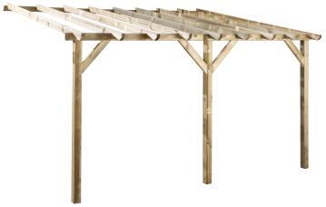 Pergola Etreta Terraced pergola 300cm x400cm xH 225cm / 252cm, 3 posts of 9x9 cm, 12m2