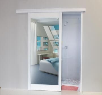 Interior Sliding Door kit with sliding mechanism MDF/Glass 1 Side Mirror 1 Side White-w890xh2050mm