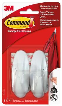 Designer hooks med damage-free hanging 2 hooks, 4 strips command 3M