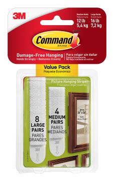 Picture hanging strips damage-free hanging 8 large+4 medium strips command 3M