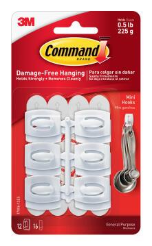 Mini hooks damage-free hanging 6 hooks, 8 strips command 3M