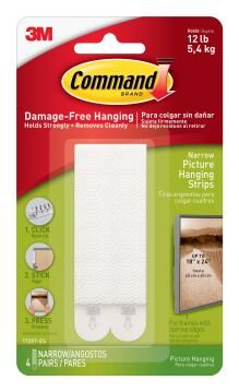 Picture hanging strips narrow damage-free hanging 4 sets command 3M