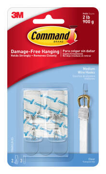 Wire hooks clear med damage-free hanging 2 hooks, 3 strips command 3M