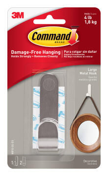 Decorative hook lrg damage-free hanging 1 hook, 2 strips command 3M