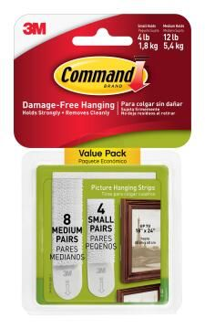 Picture hanging strips damage-free hanging 8 medium+4 small strips command 3M