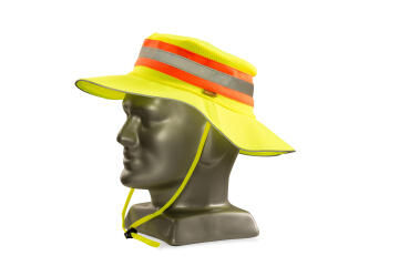 Bush Hat Refective DROMEX Lime with Orange & Silver Tape