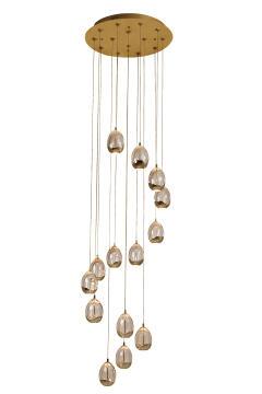 Led Dew Drop Pendant 14Lt Gold/Champagne
