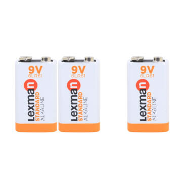 9V Battery Alkaline 6Lr61 3 Pack Lexman