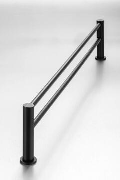Demola black double towel rail (760mm)