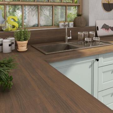 Kitchen worktop laminate natural walnut L315XD65XT3.8cm water repellent treatment