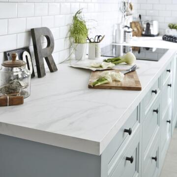 Kitchen worktop laminate marble white L300XD65XT3.8cm water repellent treatment