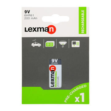 9V Rechargeable Battery 6Lr61 Lexman