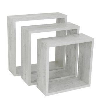 Set of 3 cubed shelves concrete 24x10/27x10/30x10cm