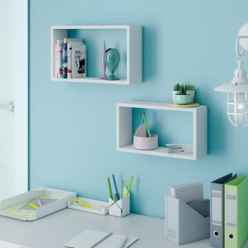Set of 2 rectangle shelves black 45x27x11,5/40x22x11,5cm