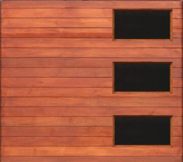 Garage Door Sectional Meranti Wood Horizontal Solid Slats with Glass inserts-Single-w2500xh2170mm
