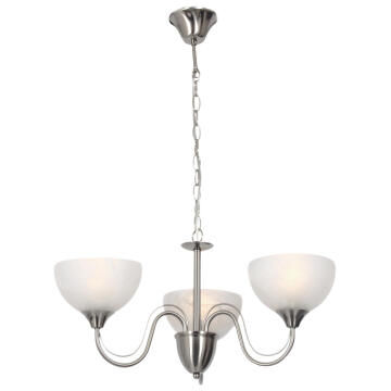 Chandelier Satin Chrome with alabaster glass